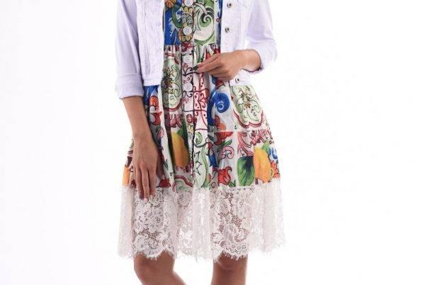 csipkés virágos ruha nyár sandro roma